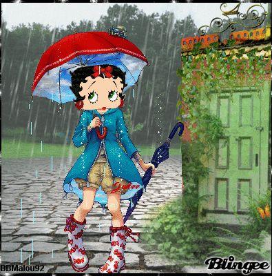 Betty Boop bajo la lluvia: I LOVE walking in the rain!