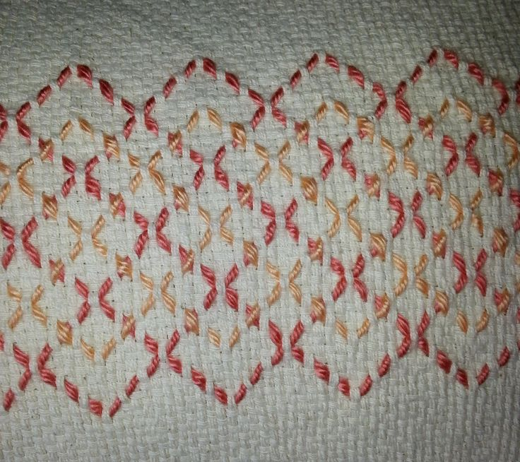 These are two Swedish weaving table runners I just finished for the upcoming craft sale.  Both are on ecru monks cloth and the fi...