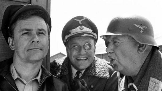 Hogan's Heroes~~Bob Crane (Hogan), Werner Klemperer (Klink), and John Banner (Schultz).