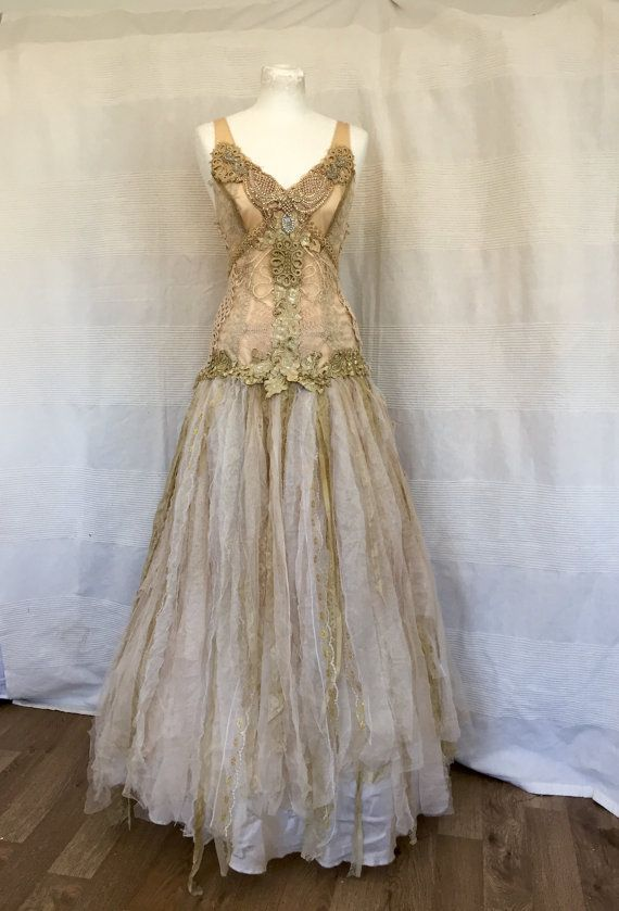 RESERVED     Wedding dress golden goddessethereal by RAWRAGSbyPK