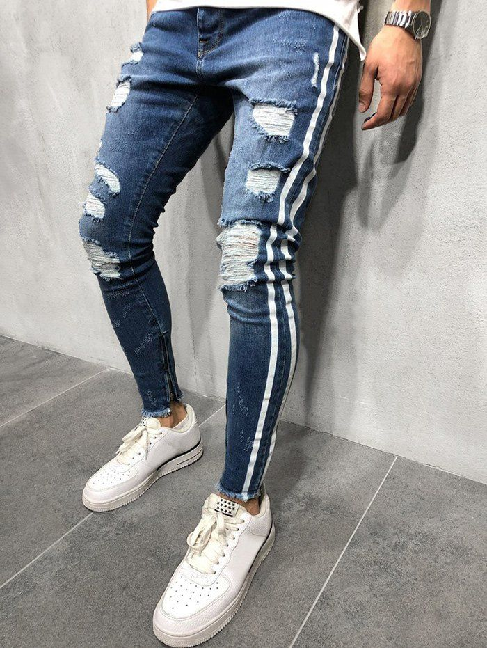 Mens Skinny Jeans Fashion Teen Boys Stretch Slim Fit Ripped Destroyed Distressed Snow Wash Denim Jeans Pants
