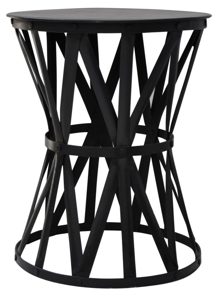Black Iron Drum Table - Interiors Online