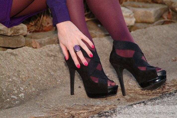 Yellow Flowers in December - AnnRobieFashion #purple #pantyhose #heels #blogger