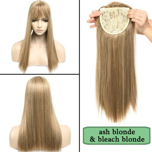 """11/17"""" Clip In Natural Topper Hair Extension Full Head With Bang Fringe Straight 