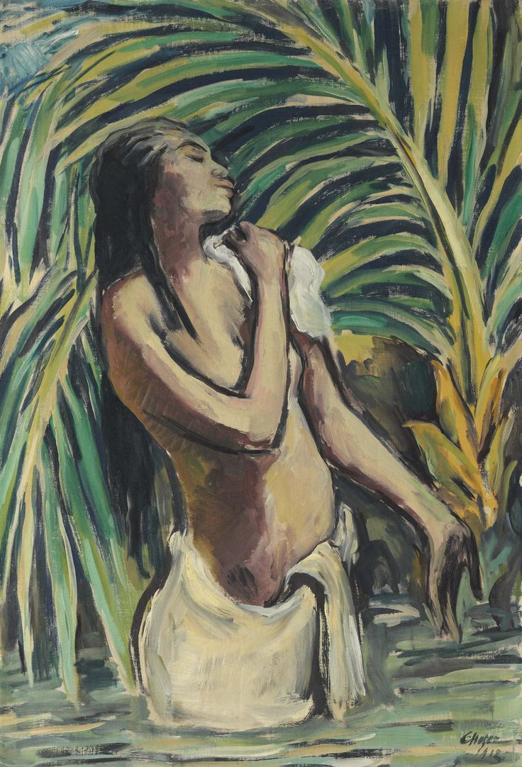 Karl Hofer (1878-1955) Badendes Hindumädchen - Bathing Hindu Girl (1913) oil on canvas 99 x 67.4 cm