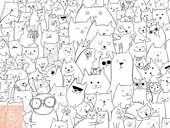 Cat colouring card black and white cats print by UshiStore on Etsy