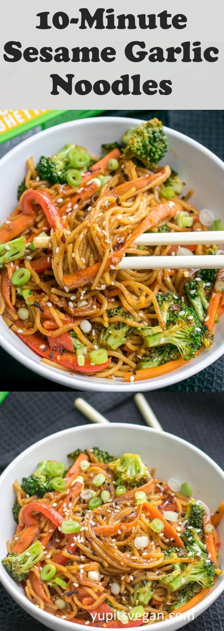 10-Minute Sesame Garlic Protein Noodles! Totally vegan, gluten-free, ready in 10…