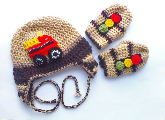 Boy crochet hat with  fire truck applique and gloves , vehicle hat , boys beanie , mittens and hat