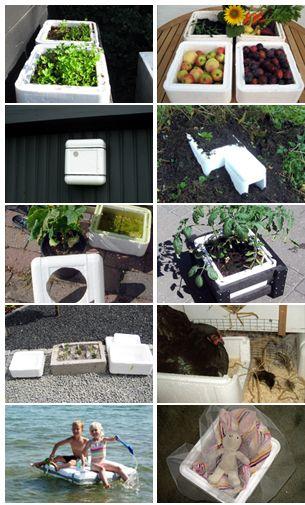 Re-use of PVC boxes...Generel opbevaring julepynt, DVD, mv. Opbevar af grøntsager og blomsterknolde - skriv med tusch uden på. Vinteropbevaring af æbler, pærer, kartofler mv. fra haven. Opbevaring af frostvarer på vej hjem fra supermarkedet. Plantekasse eller plantning af krydderurter. Bræk kassen i stykker og brug stykkerne som dræn i plantekrukker. Bistader. Holde mad varm eller kold i forbindelse med mange fester og gæster Opbevaring af isterninger under festen eller på tur.