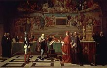 Galilée (savant) — Galilée face au tribunal de l'Inquisition Catholique Romain peint au xixe siècle par Joseph-Nicolas Robert-Fleury.