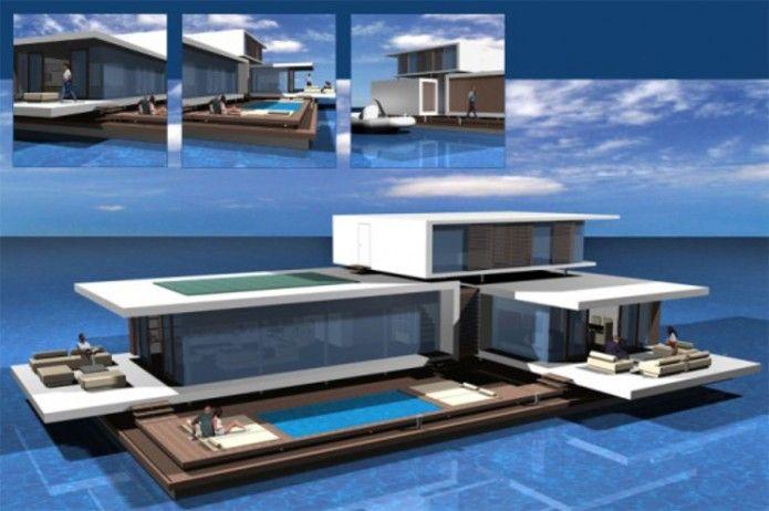 Floating houses buscar con google casas flotantes for Minimalist house boat