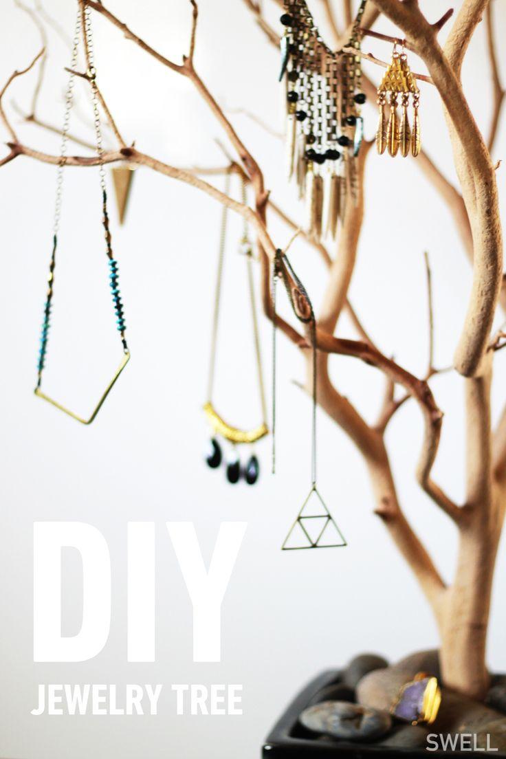 DIY jewelry tree. @SWELL http://blog.swell.com/diy-jewlery-tree