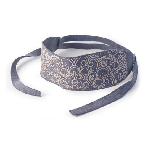 CINTURA ANNALISA DENIM  -  Cinitura a fascia in lana cotta stampata. Chiusura a fiocco. Dim: 39 x 8,5 cm. per la fascia. Lunghezza totale: 154 cm.