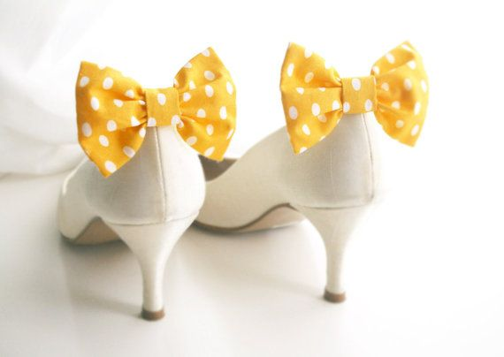 Yellow bridal Shoe clips  Yellow  polka dots by knotbowboutique, $10.00