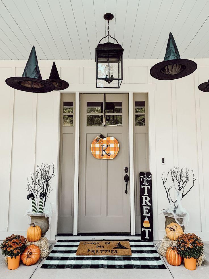 Homemade hanging halloween door decorations