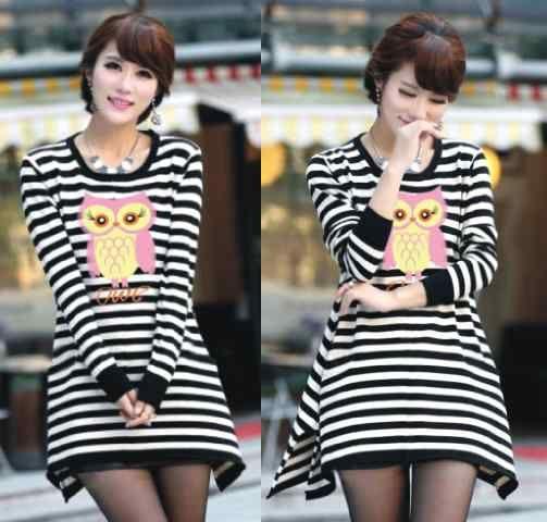 Produk Kaos Owl Stripe Hitam Putih K31  Keren - http://www.butikjingga.com/kaos-owl-stripe-hitam-putih-k31