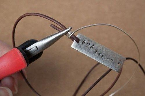DIY Leather Wrap Stamped Metal Bracelet | Shelterness
