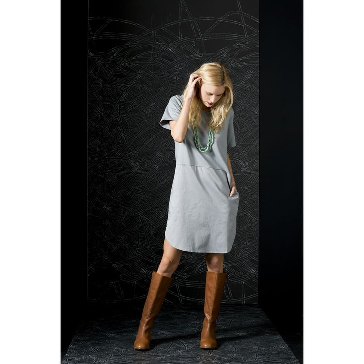 A simple, comfortable and easy to wear day dress made from a mid weight French terry and polished cotton. Available in beautiful grey and classic black. | Fall & Winter Fashion