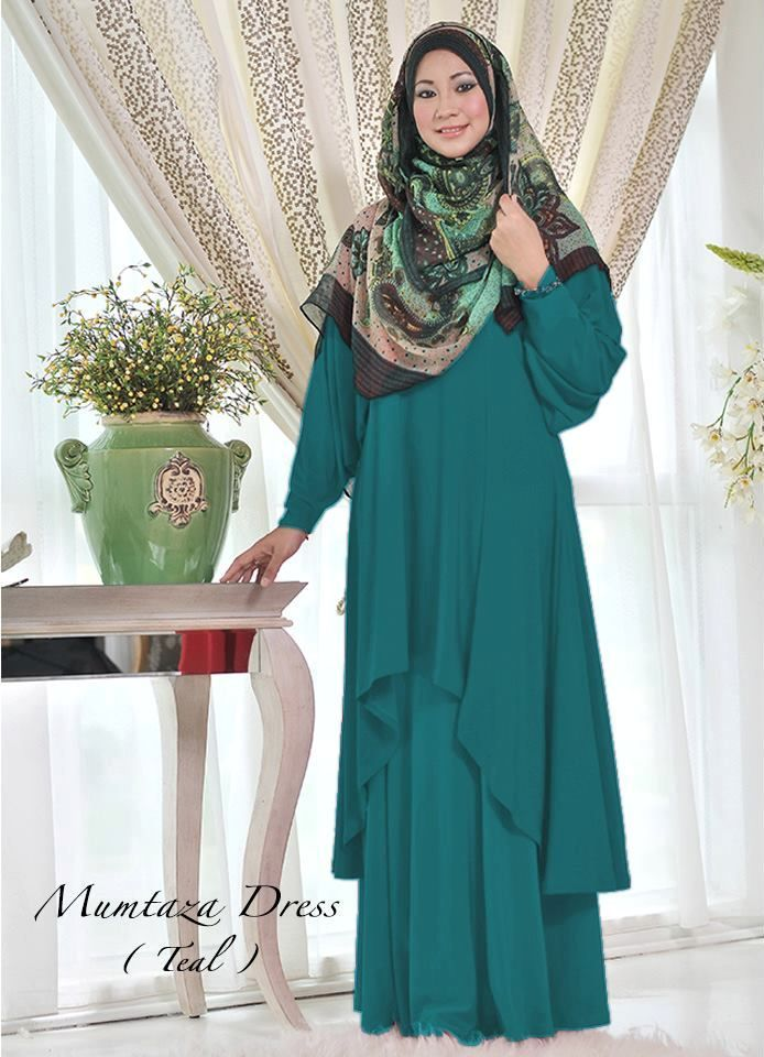 Muslimah Green Leaf Fishtail Dress