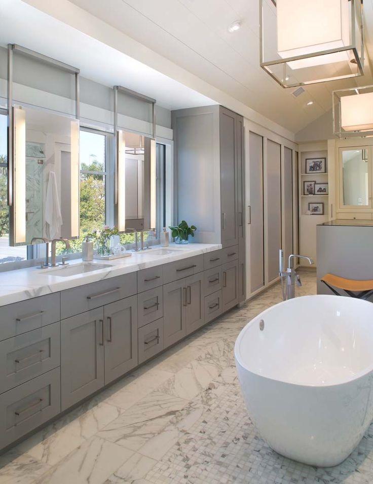 Contemporary East Coast Inspired Beach House In Coronado, California.  Mirror BathroomBathroom IdeasMaster ...