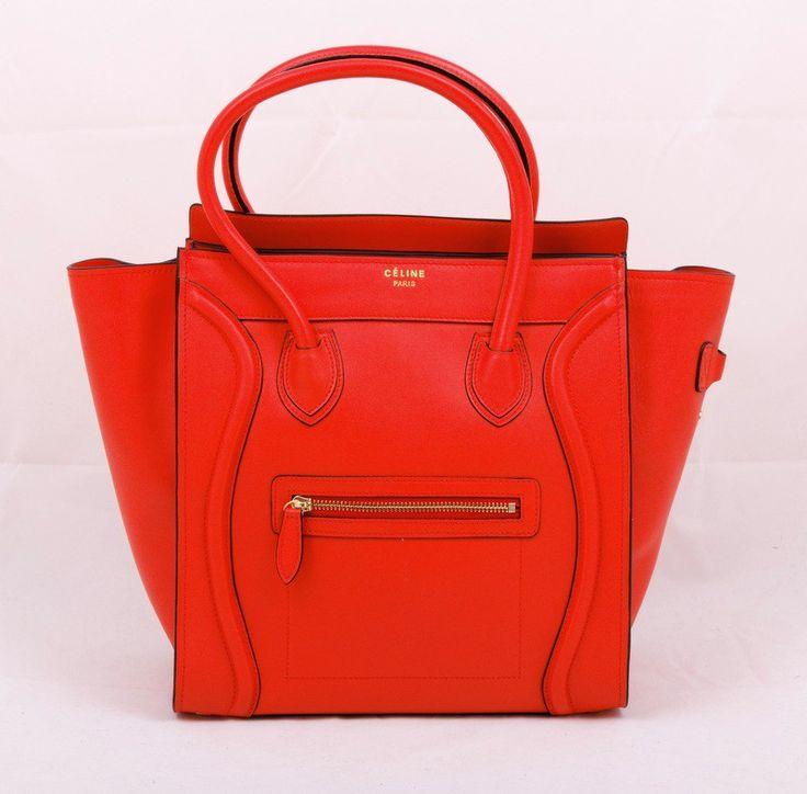 Сумка CELINE Boston bag из натуральной кожи оранжевая