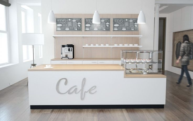 Cafeeinrichtung Theke mit Kühlaufsatz und Rückbuffet