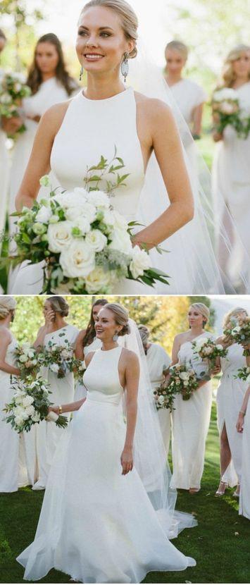 Elegant White Bridal Dress,Simple Prom Dress,Custom Made Evening Dress,Sexy wedding dress,Sleeveless dress