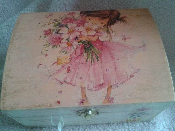 Hand Painted Wooden Box With vintage Details. by Tinascraftsforyou, £18.00