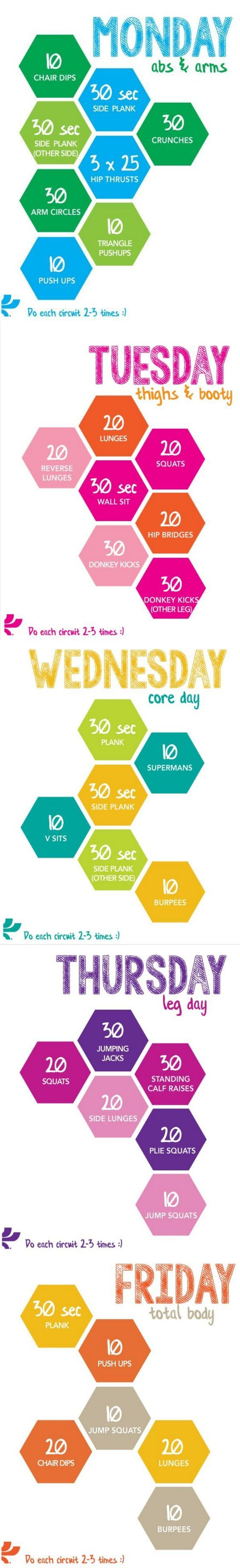Monday-Friday circuit, focusing on different body areas each day.