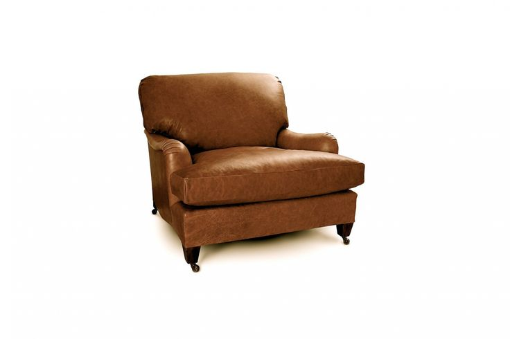 From Stephen Perkins in the UK, the Highgrove Leather Chair has traditional roll arms and stands on wheels. Contact Stephen Perkins for pricing and more information.