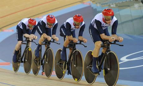 GOLD and a new WORLD RECORD- Great Britain (Men's team pursuit)  Ed Clancy, Geraint Thomas, Peter Kennaugh and Steven Burke set a new team pursuit record of three minutes, 51.659 seconds.