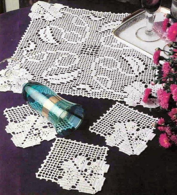 crochet em revista: base para copos