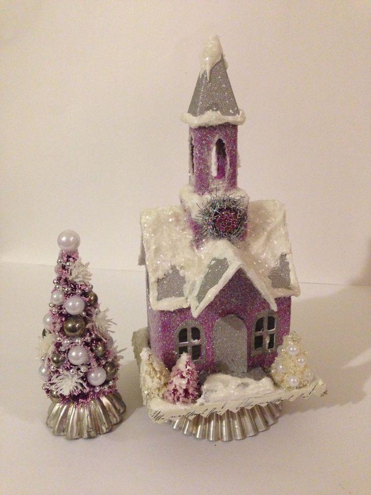 Valentine Village Set~ Fuchsia Putz Church on Jello Mold, Matching Bottle Brush Tree on Tart Tin, Christmas Village Set, Valentine Gift by ThePokeyPoodle on Etsy