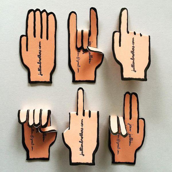 A Cute, Creative Business Card Shaped Like A Hand That You Can High Five - DesignTAXI.com