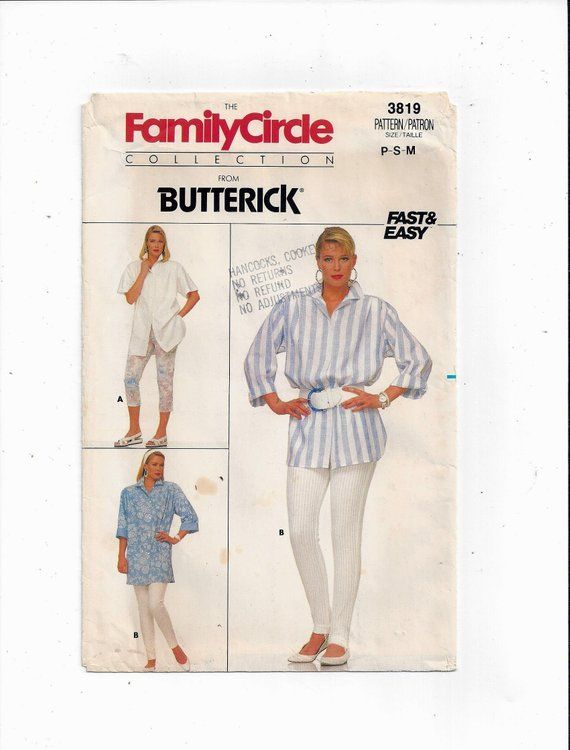 Butterick 3819 Pattern for Misses\' Shirt, Pants, Family Circle ...