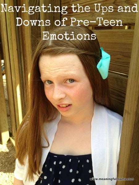 Some interesting ideas about dealing with pre-teen emotions...