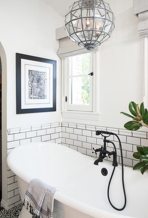 White And Black Bathroom Features Top Half Of Walls