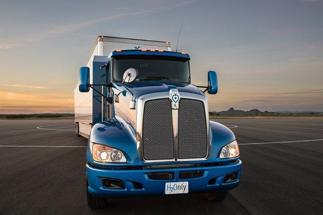 Toyota hydrogen fuel cell-powered semi truck front view