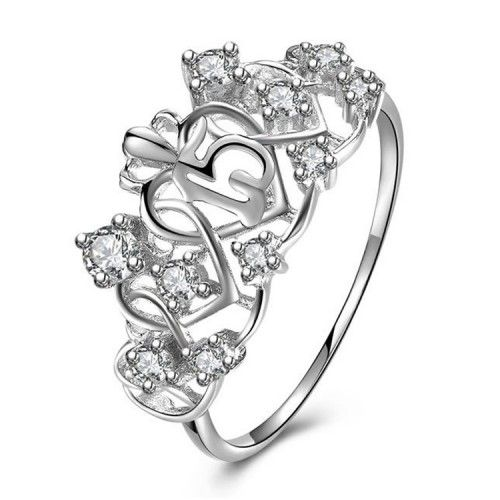 White Gold Plated 925 Sterling Silver Sweet 15 Quinceanera