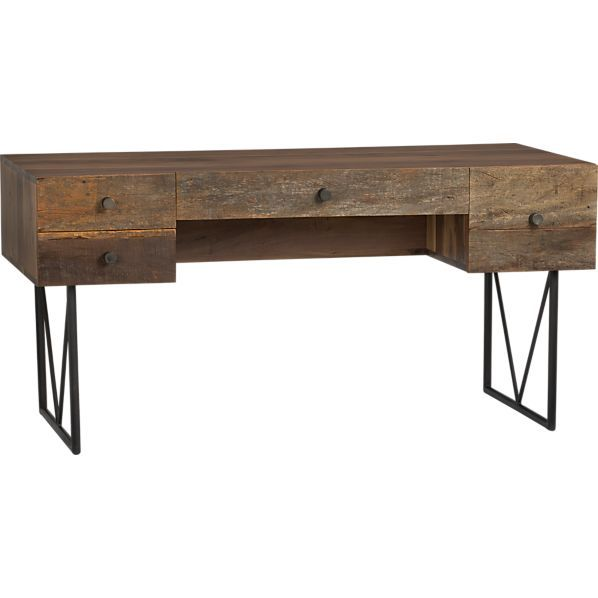 This desk is made of reclaimed wood and looks great. $1,499. http://www.crateandbarrel.com/eco-friendly-products/eco-friendly-furniture/hendrix-desk/s668934