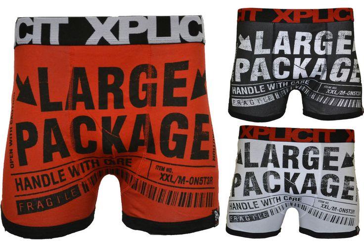 Mens Xplicit 'Large Package' Funny Novelty Boxer Shorts Trunks Underwear S-XL #Xplicit #BoxerTrunks
