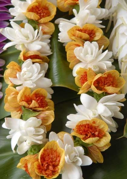 double tuberose and lantern ilima lei   via Nancy Lake