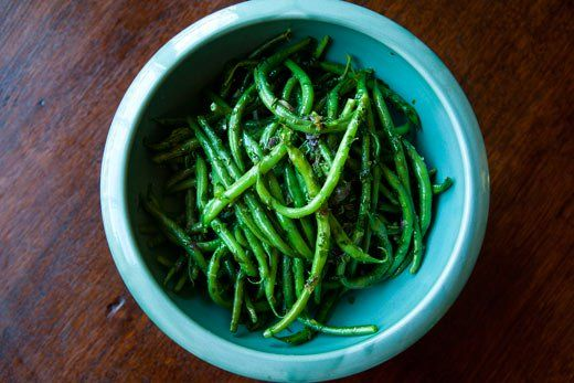 French Green Beans with Butter and Herbs ~ Fresh haricot verts, skinny green beans boiled, drained, then sautéed in butter with onions, tarragon, thyme, parsley, and chives. ~ SimplyRecipes.com