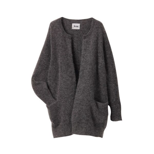 ACNE Raya Mohair ($365) ❤ liked on Polyvore featuring tops, cardigans, outerwear, jackets, sweaters, women, mohair cardigan and acne studios
