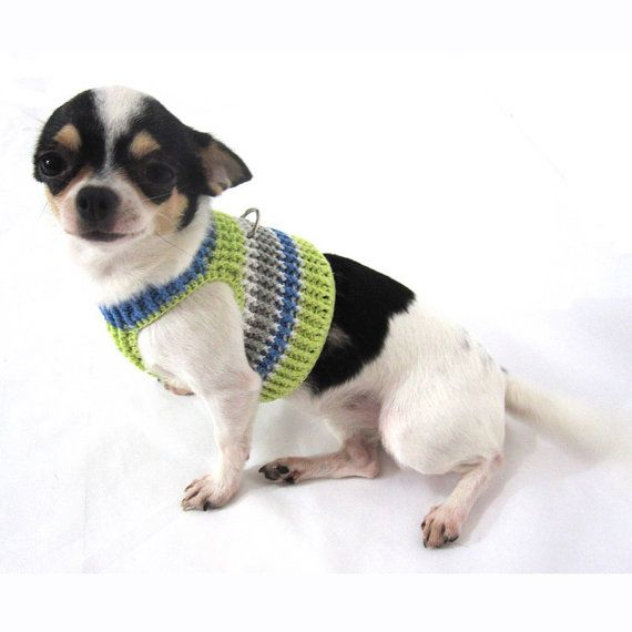 Adorable design dog harnesses colorful and comfortable by Myknitt Designer Dog Clothes. Perfects for daily use. Handmade knitted using 100% cotton yarn material. Custom made are welcome.  This listing is for handmade dog Harness DH14 in size XXS. Fits neck:8 Fits chest:10 Please kindly check your pets measurements with my pattern size chart to make sure the item fits before ordering.  If you need size XS, S, or M, please contact me. I will make a new listing for you =) Please kindly chec...