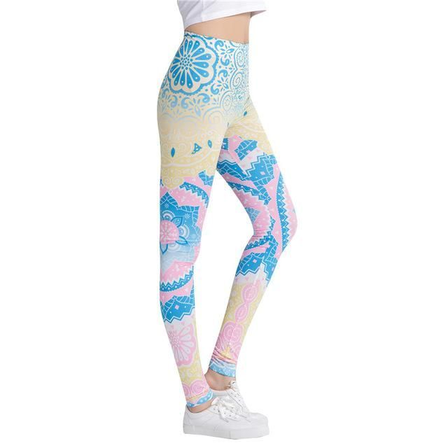 Women Fitness Leggings, Fashion Legging Aztec Round Hombre Printing, Yoga Pants, One Size(Sm-Med)