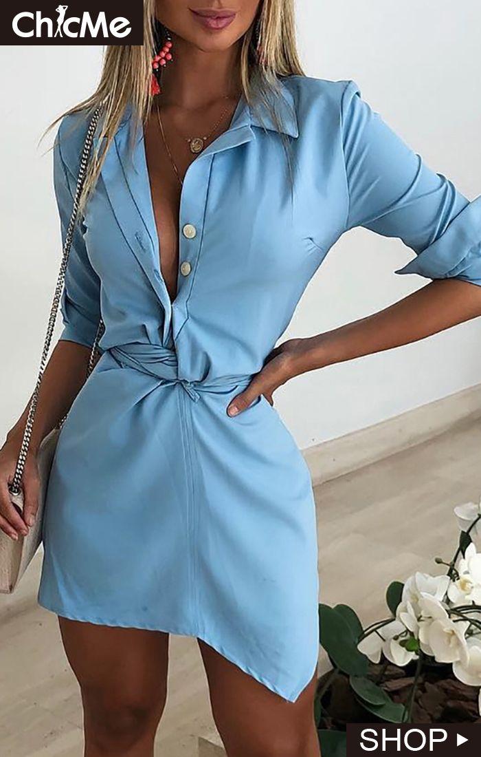 80d31a7798b5 Twist Design Irregular Shirt Dress. Twist Design Irregular Shirt Dress Maxi  Shirt Dress, Lace Dress, Womens Fashion Online,
