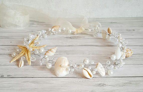 Playa de Tiara nupcial boda concha casco estrellas de mar