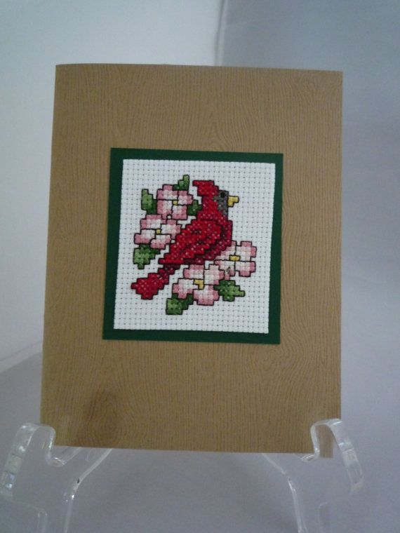 Cardinal  hand stitched card by HMCrafters on Etsy, $5.00