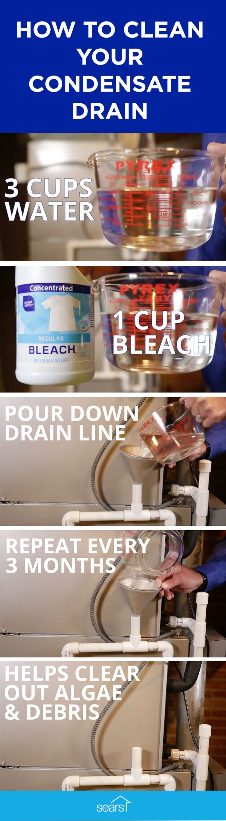 Did you know you should regularly clean your condensate drain line? Here's how to do it. Combine 3 cups water with 1 cup bleach. Pour down drain line using a funnel. Repeat every three months to help clear out algae and debris. Visit the Sears Home Improvement blog for more HVAC maintenance tips.